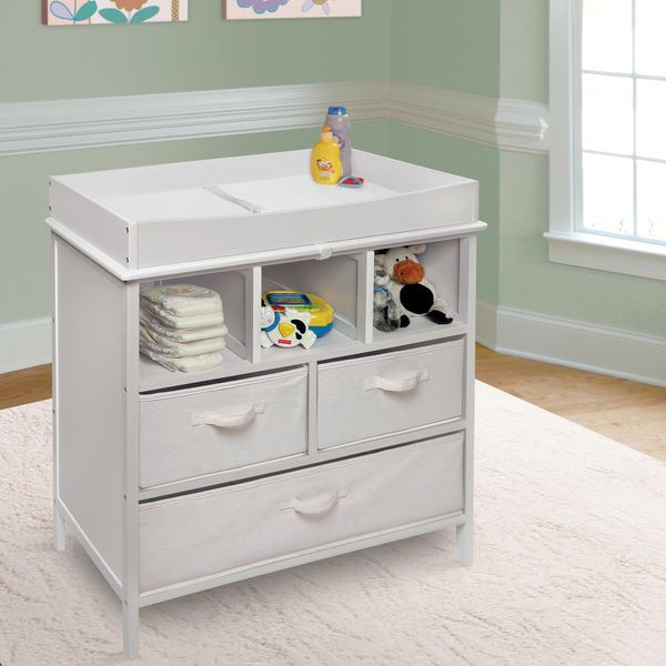 Baby Changing Table Nursery Station Diaper Basket White Storage