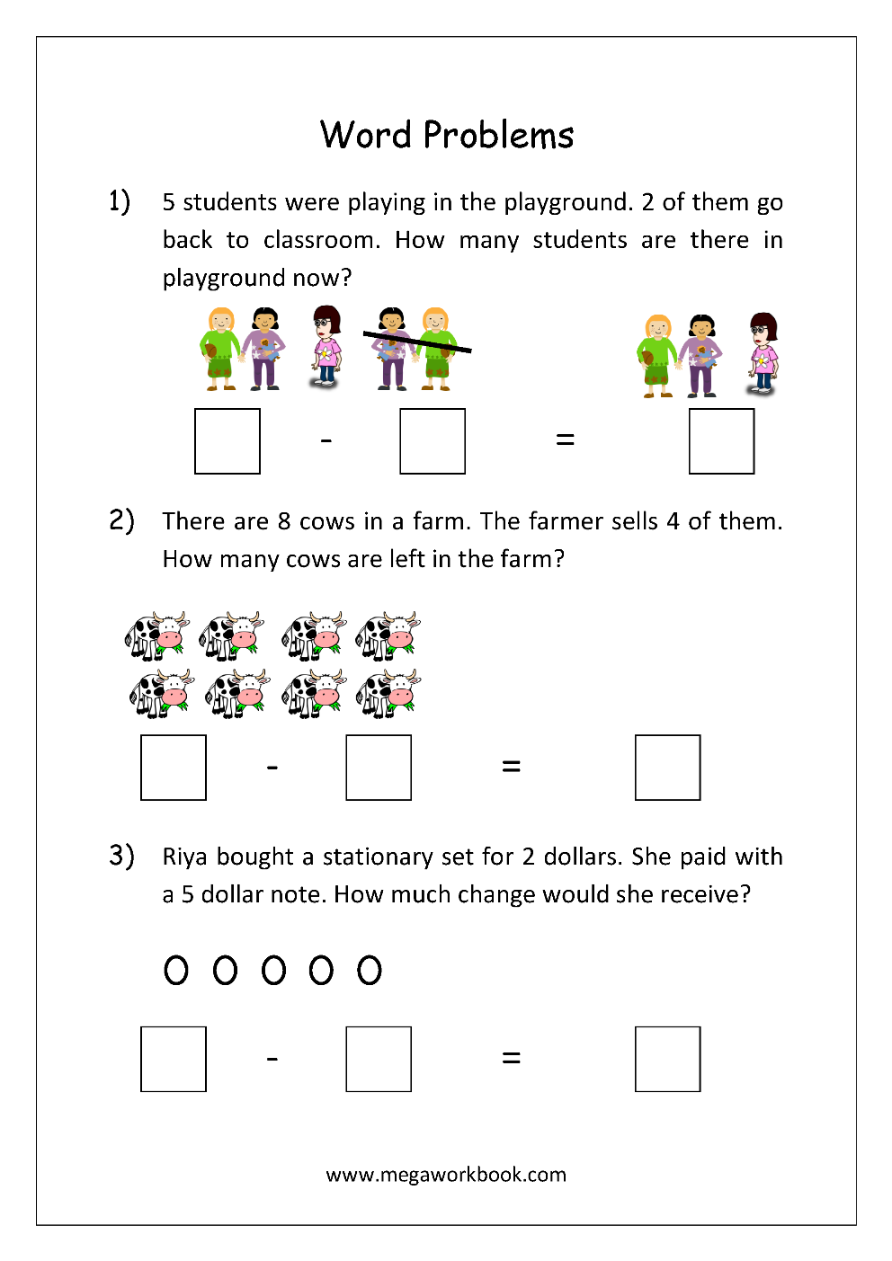 Addition And Subtraction Word Problems Worksheets For Kindergarten And Grade 1 Story Sums S Word Problem Worksheets Subtraction Word Problems Word Problems