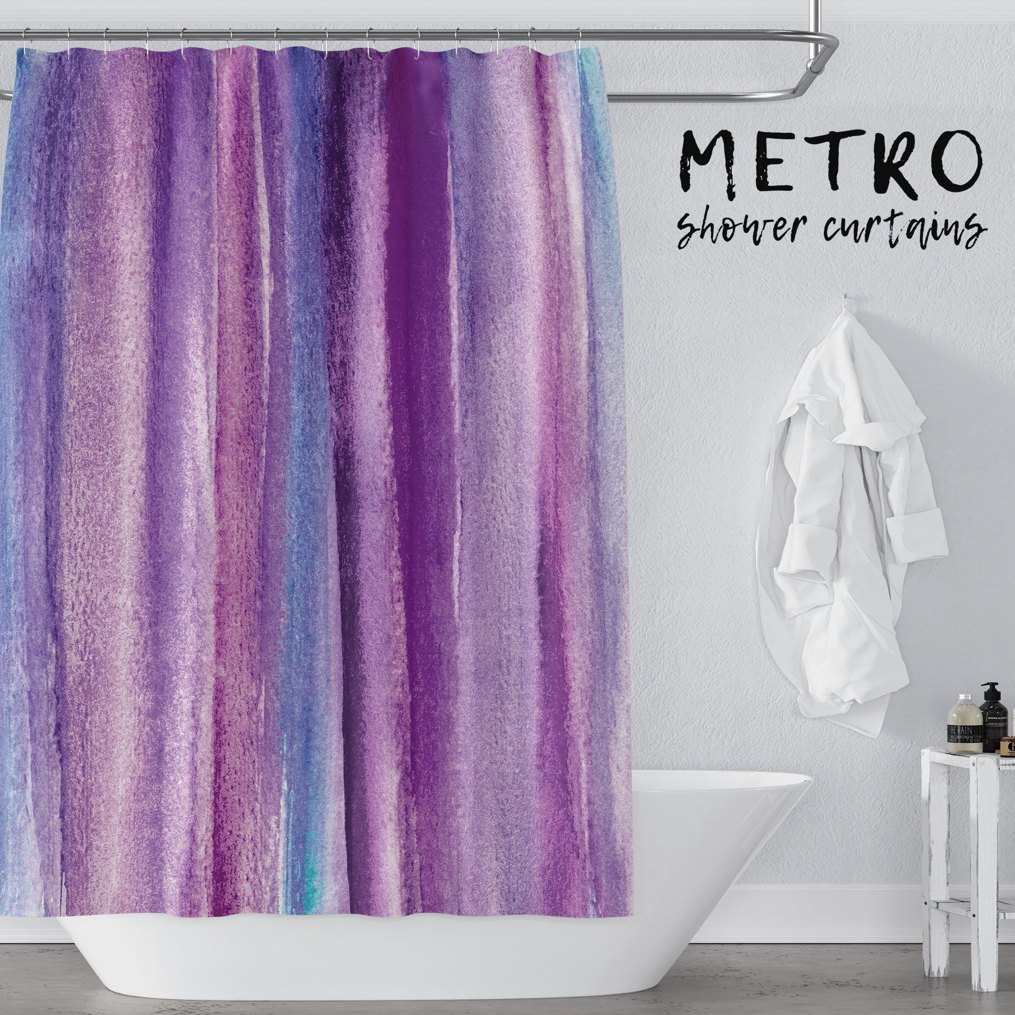 What A Pretty Way To Decorate A Purple Bathroom With A Watercolor