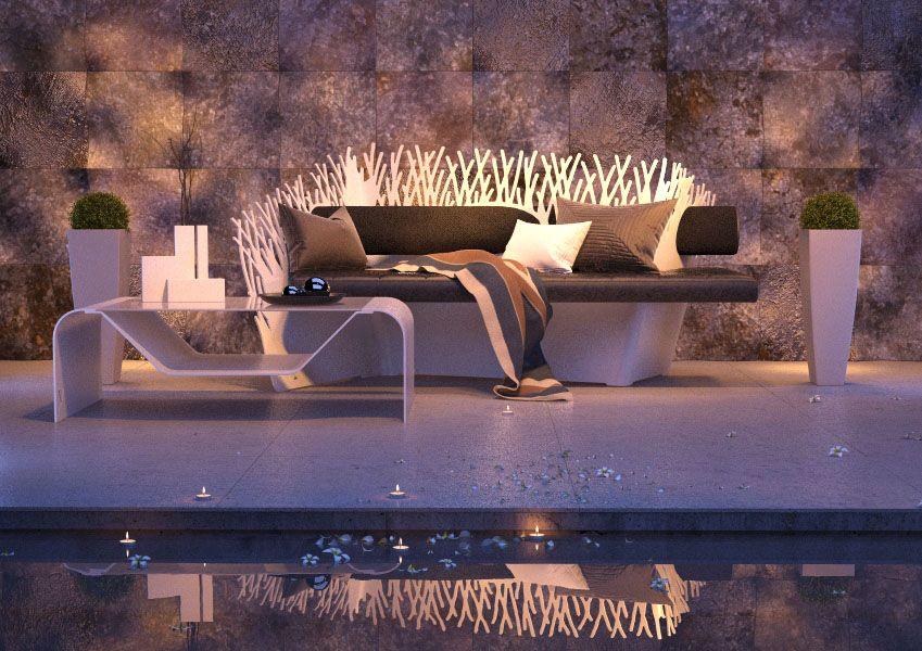 pool villa luxury furniture mobilier de luxe piscine acier steel design. Black Bedroom Furniture Sets. Home Design Ideas