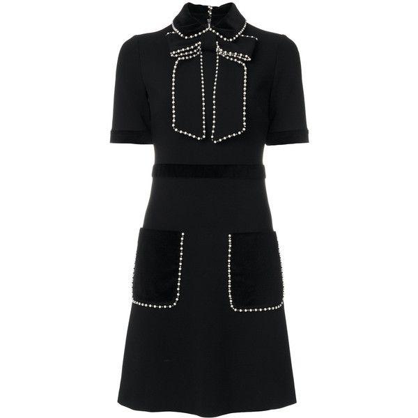 691df8ad7 Gucci Embroidered Short Dress ($3,125) ❤ liked on Polyvore featuring dresses,  black, embelished dress, back zipper dress, embellished mini dress, ...