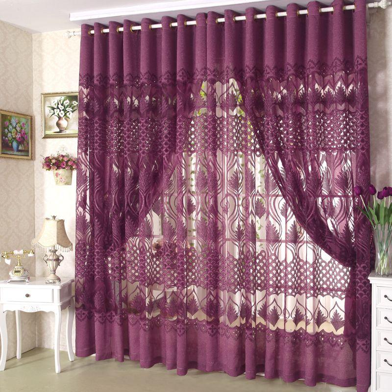 Living Room Curtains Swag Purple