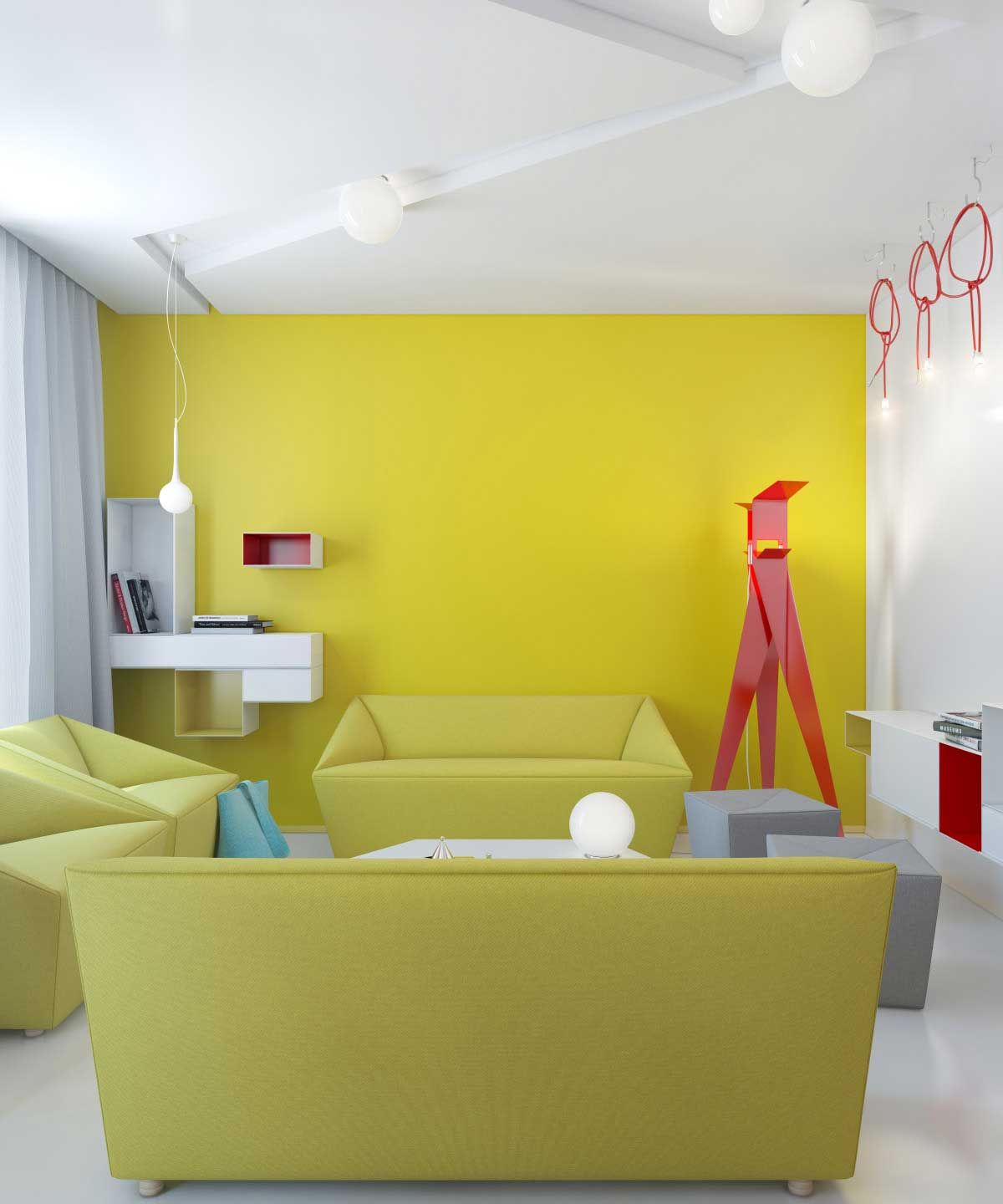 A simple yellow accent wall in living room. | Accents/Paint Walls ...