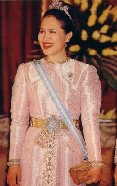HM Queen Sirikit of Thailand with diamond floral tiara, diamond bangles and diamond belt.