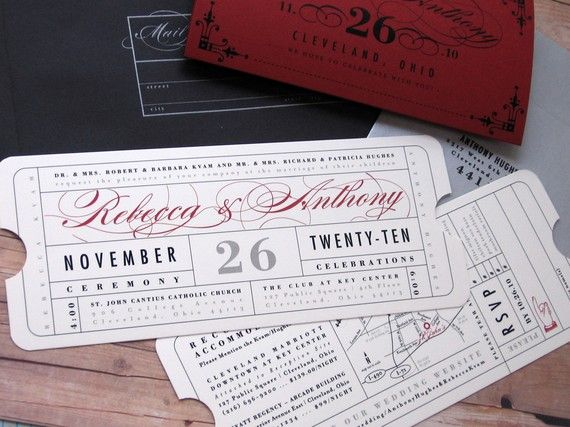 formal vintage ticket invitation with sleeve wrap enclosure for hollywood movie theater red