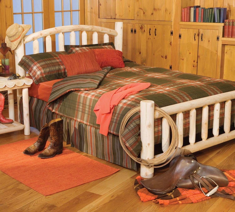 Arched rustic bed bedroom log furniture rustic natural cedar