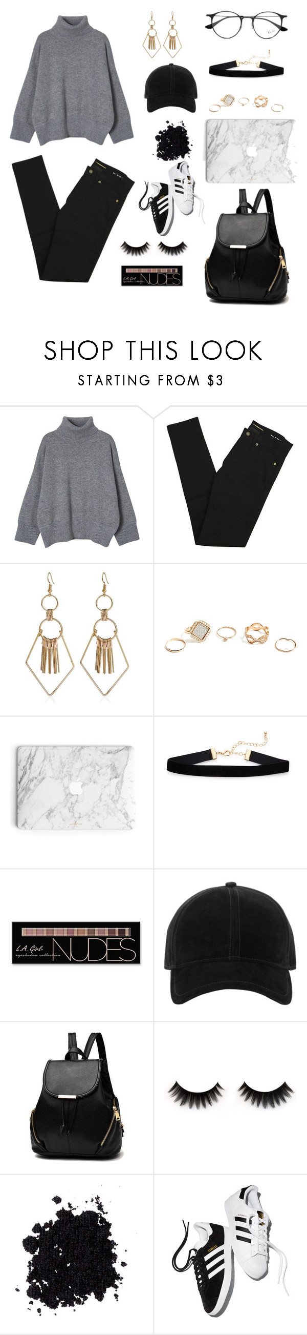 """""""🌃🌃🌃🌃"""" by yinyangme ❤ liked on Polyvore featuring Yves Saint Laurent, GUESS, Charlotte Russe, rag & bone, adidas and Ray-Ban"""