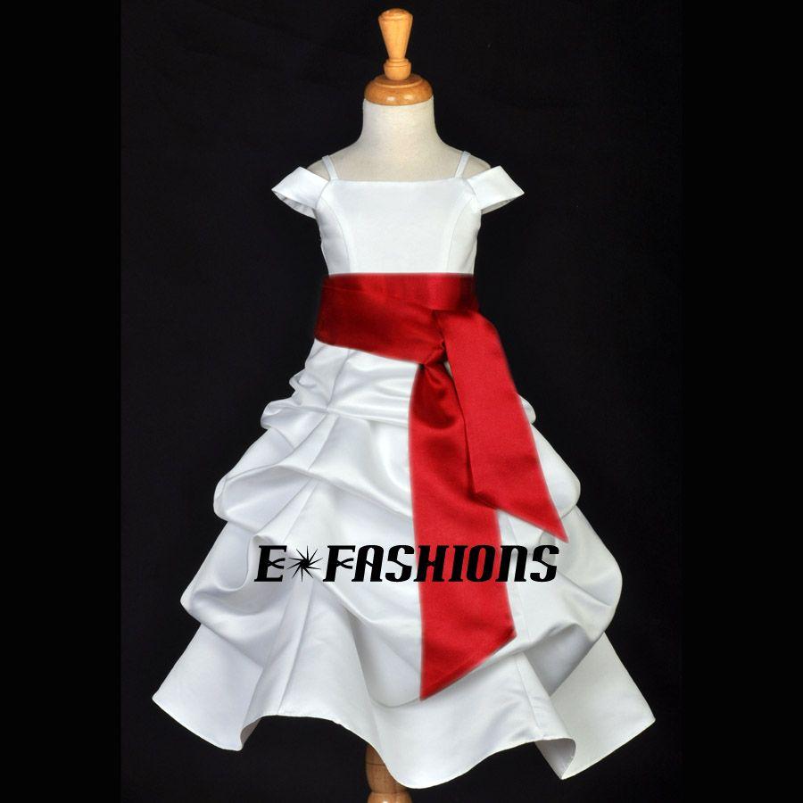 IVORY CHERRY APPLE RED RECITAL WEDDING FLOWER GIRL DRESS 4 5