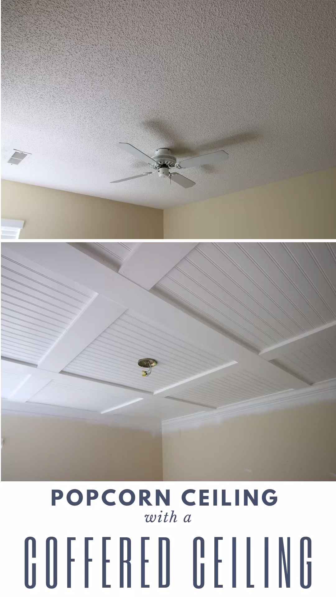 Hate your popcorn ceilings? Here is how to cover them with a DIY beadboard coffered ceiling! #popcornceiling #homeimprovement #cofferedceiling