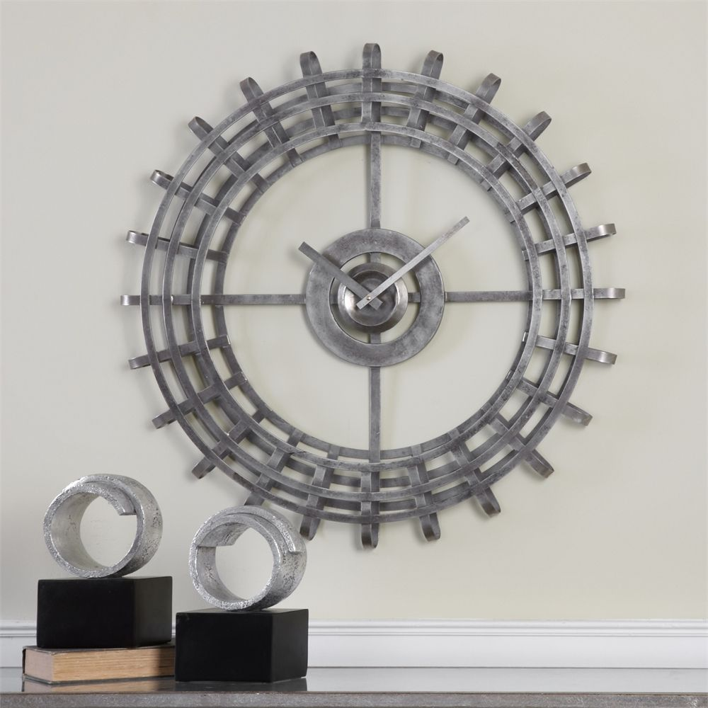 Alphonse Clock Three Dimensional Curved Open Frame   Premier Home Decor