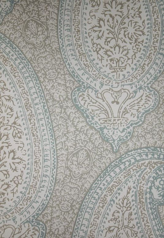 Kashmir Wallpaper Large Paisley Design Wallpaper In Blue, Brown And Stone Part 45