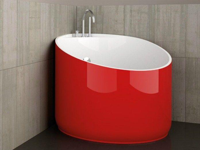 Vasca da bagno angolare rotonda MINI RED FERRARI by Glass Design ...