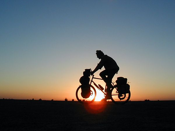 Adventurer Alastair Humphreys on his round-the-world bike trip Photograph by Alastair Humphreys Ultimate Adventure Bucket List - Bike Around the World -- National Geographic