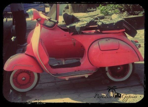 Paradise Gypsies — Pink retro motorbike