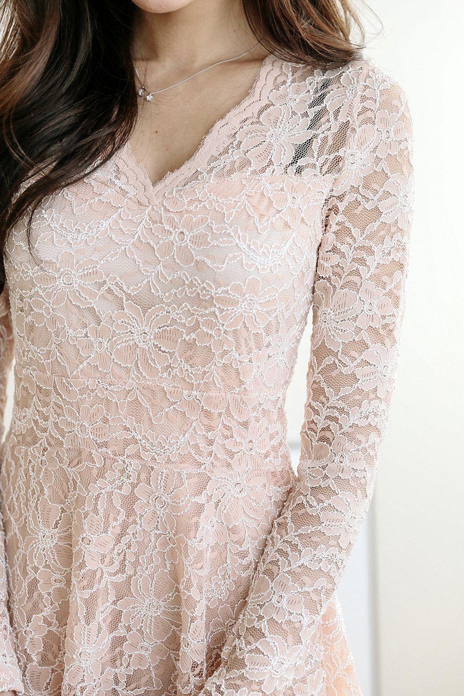 Lace dress in black august 2019 Wave Lace V Dress  Dress in   Pinterest  Dresses V dress and