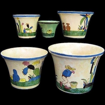:D❤️Set 5 Tlaquepaque Mexico Nesting Pottery Flower Pot by Heydeyjavoo