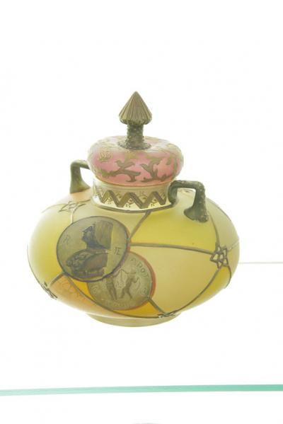 Royal Flemish Covered Jar Finialed Lid Having Gilt Accents Double Handled Satin Glass Body With Autumnal Colors And Meda Antique Glassware Flemish Pottery Art