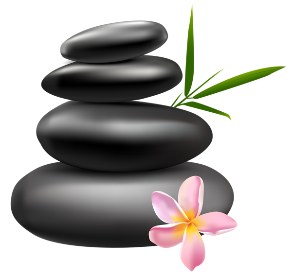 spa stones with pink flower png clipart image decorative