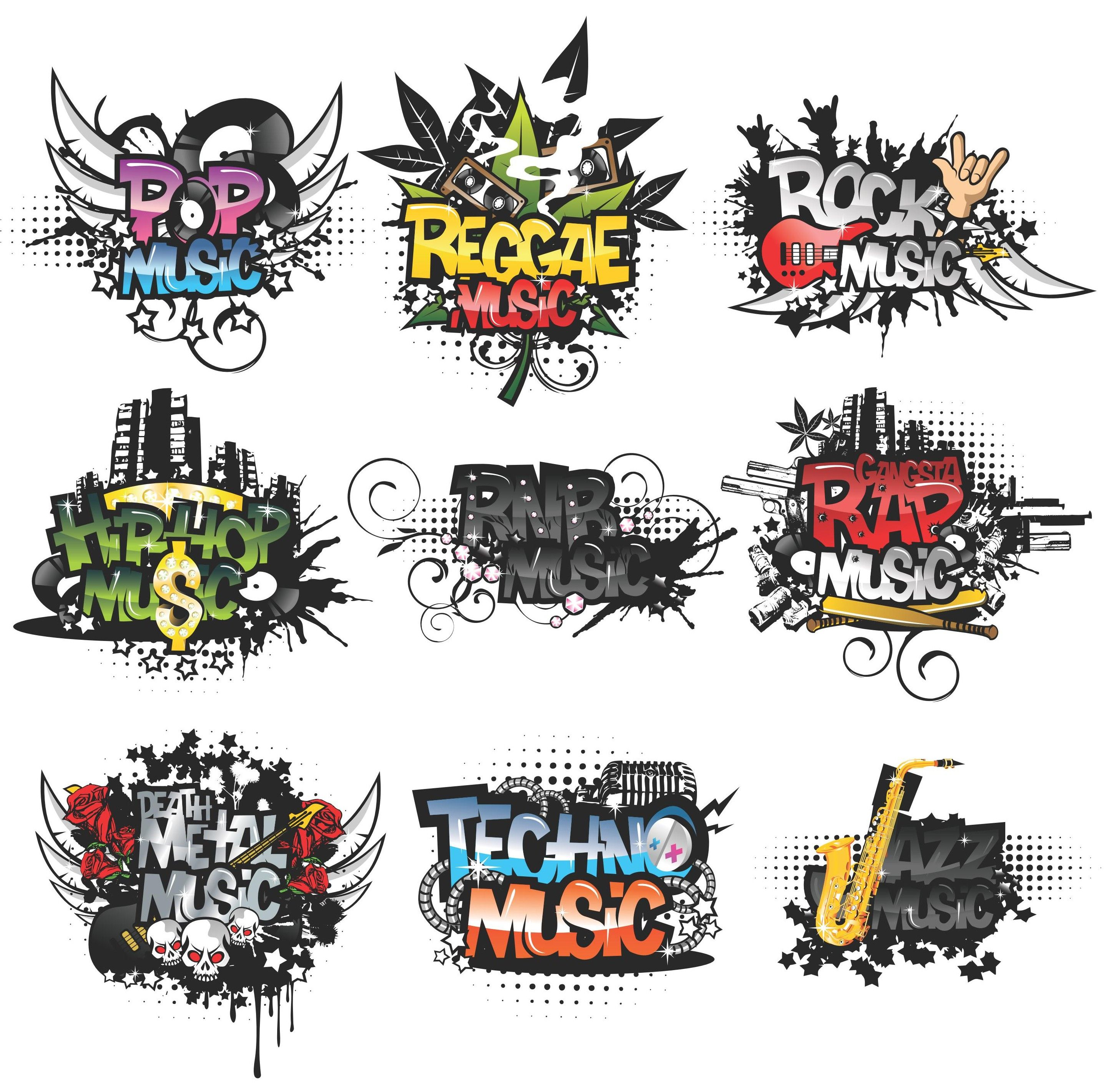 Cool Musical Elements Vector Pack [EPS File] Cool Musical Elements ...