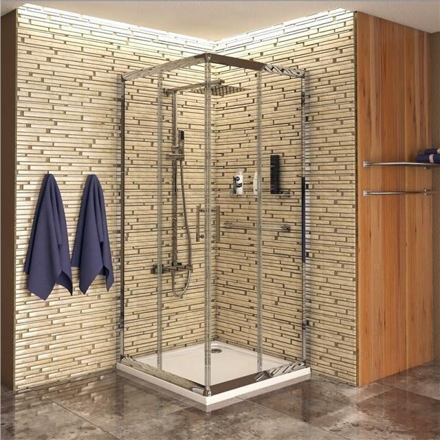 700 x 700mm Corner Entry Glass Sliding Shower Enclosure Cubicle Door ...