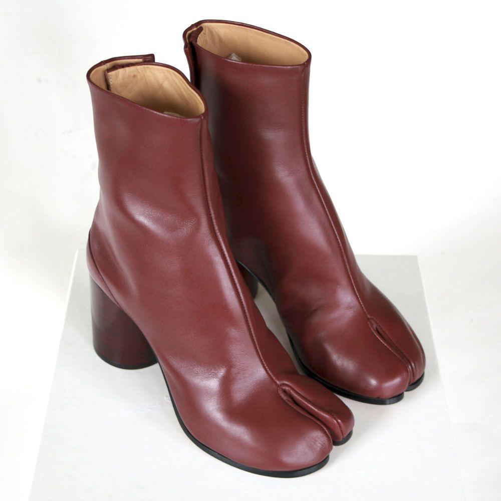 6df942a8c4b7 MAISON MARTIN MARGIELA tabi split toe burgundy leather high heel boots 35  NEW  MaisonMartinMargiela  Fashion  ankleboots  tabiboots  tabi  highheels    ...