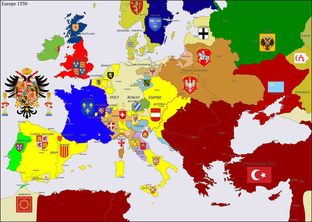 Hapsburg Europe 1550 By Hillfighter On Deviantart The Hapsburgs