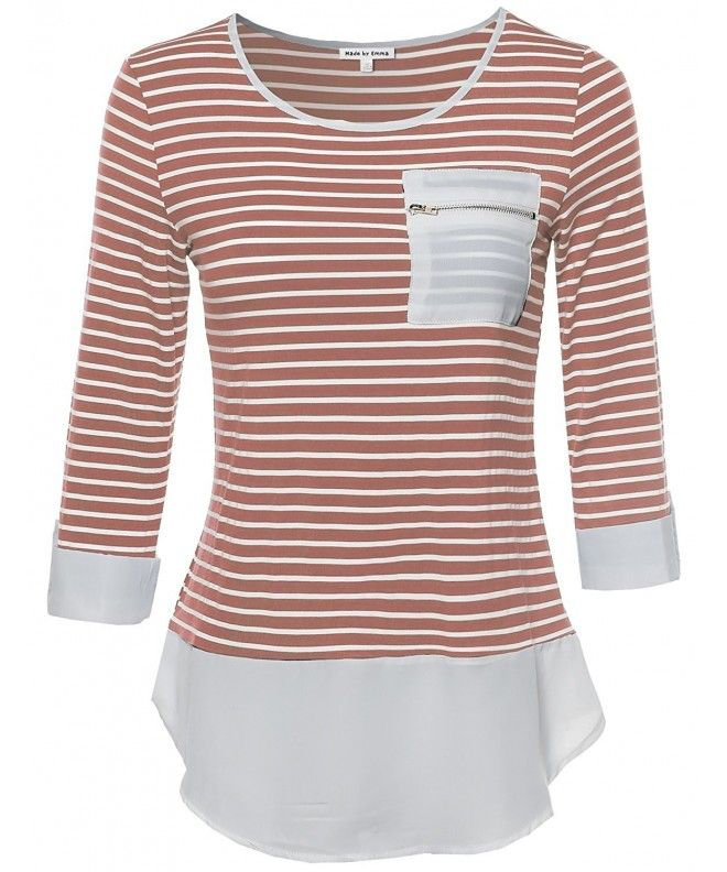 Women's Contemporary Chic Round Neck Stripe Top Rolled Up Sleeves - Fwttl020 Rose - CL12G711PC9 3