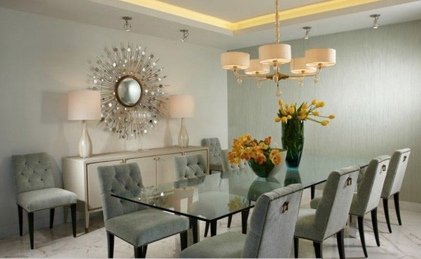 Interior beautiful dining room with rectangle glass dining table for people with grey tufted - Dining room sets miami ...