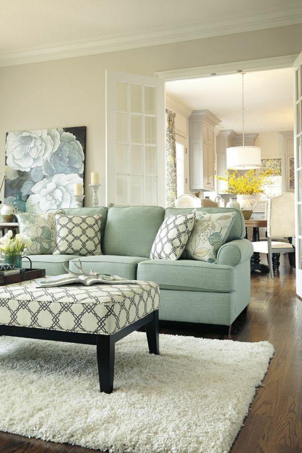 elegantes wohnzimmer fell teppich blumen bild | wohnzimmer | pinterest, Wohnzimmer dekoo