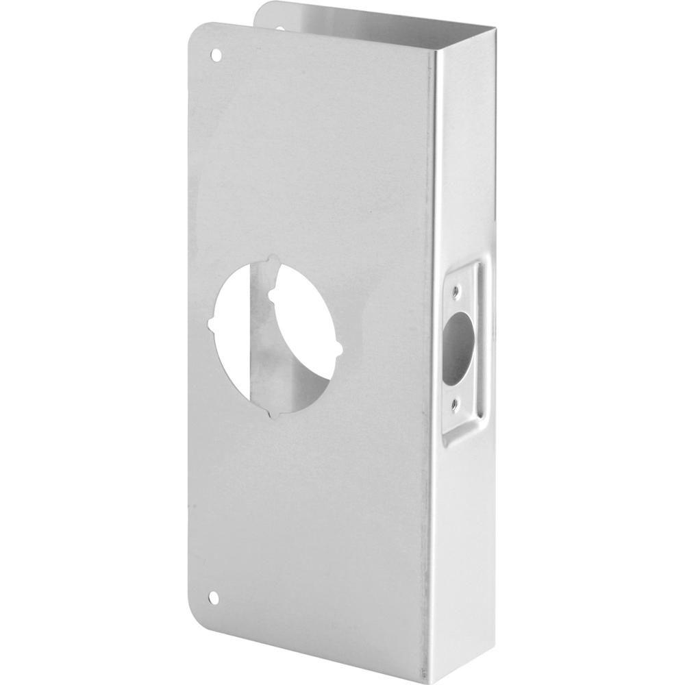 Prime Line 1 3 4 In X 9 In Thick Solid Brass Lock And Door Reinforcer 2 1 8 In Single Bore 2 3 8 In Backset U 9551 The Home Depot Metal Door Stainless Steel Sheet Metal Reinforcer