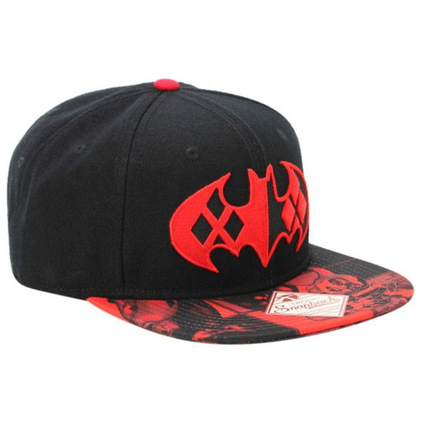 newest 63278 11873 DC Comics Batman Harley Quinn Logo Snapback Hat   Hot Topic ❤ liked on  Polyvore featuring accessories, hats, embroidery hats, logo hats, logo snapback  hats ...