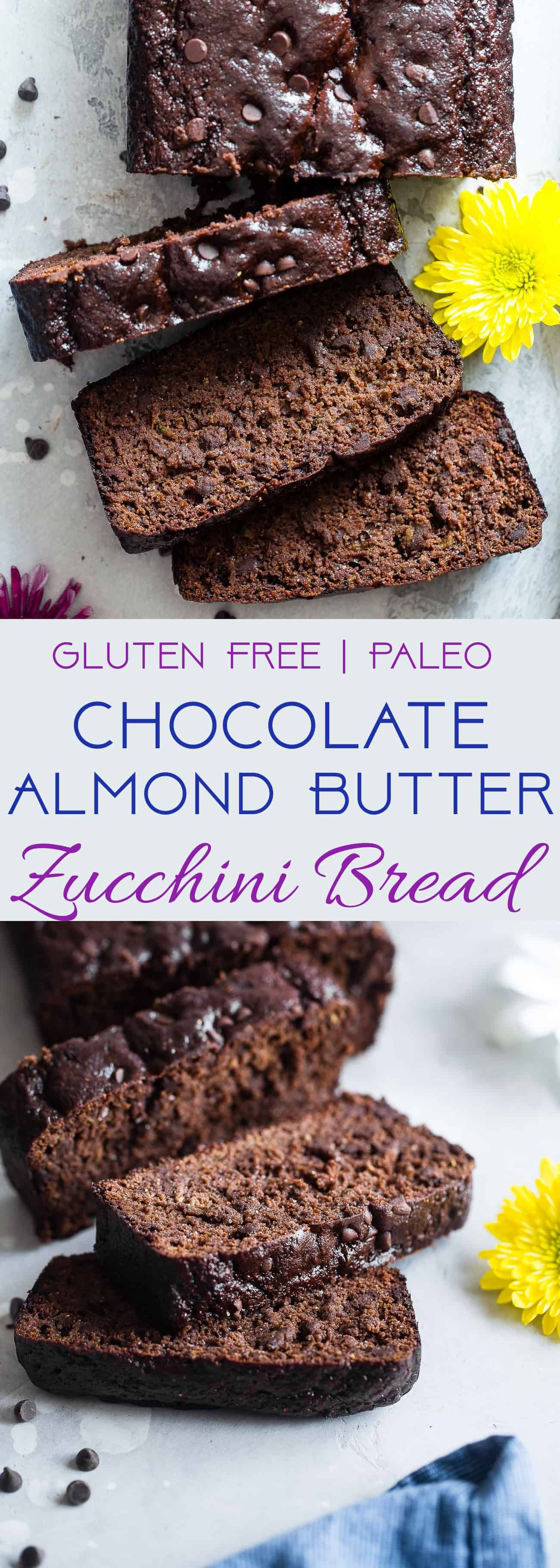 Easy Chocolate Paleo Zucchini Bread - This gluten free zucchini bread is secretly packed with protein and collagen to support healthy skin and bones! It's a healthy, breakfast or snack for kids and adults, and freezes great! | #Foodfaithfitness | #FoodFaithFit | #Paleo #Glutenfree #Collagen #Chocolate #Healthy #healthyskin