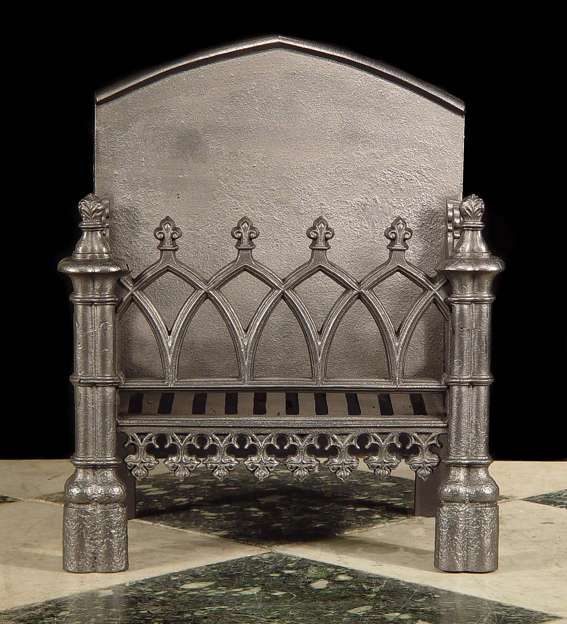 Antique Neo Gothic Fire Grate In The Pugin Style Full