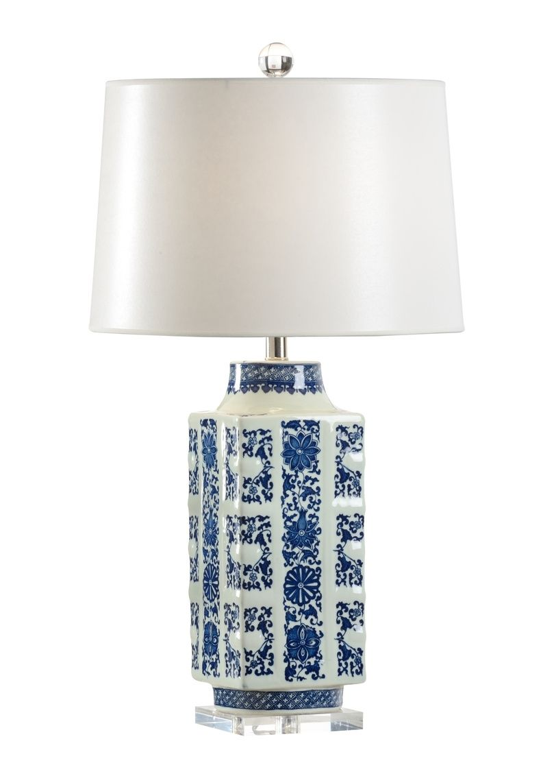 Blue Porcelain Lamp With A White Lamp Shade Blue Porcelain Lamp Paper Shade White Shade 3 Way Switch 5 8w X 5 8d X 30 5h Porcelain Lamp Table Lamp Lamp