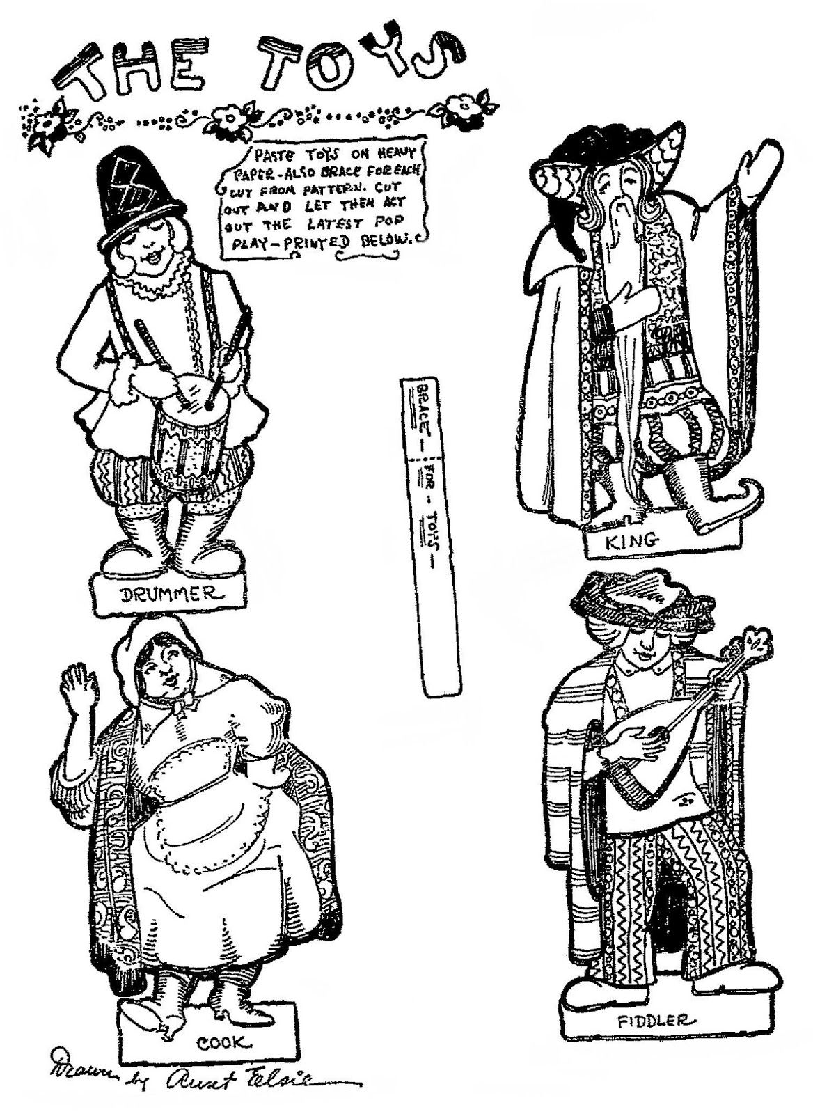 """January 11, 1926.   The figures of the King, the Drummer, the Fiddler and the Cook from THE TOYS and """"Aunt Elsie's"""" POP BOOK.  POP stands for """"Purveyors of Pleasantness"""".  2 of 2"""