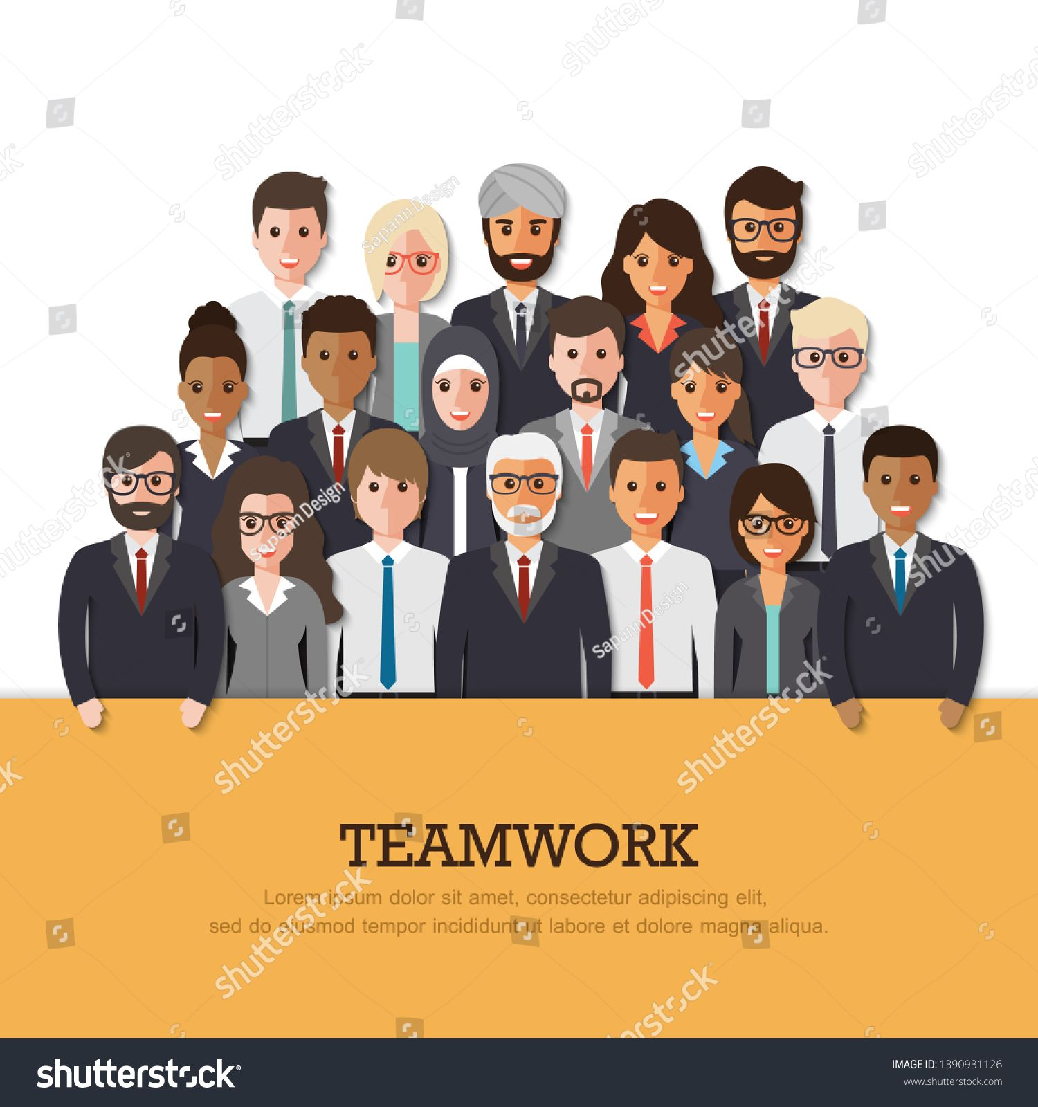 Group Of Businessman And Businesswoman People At Work With