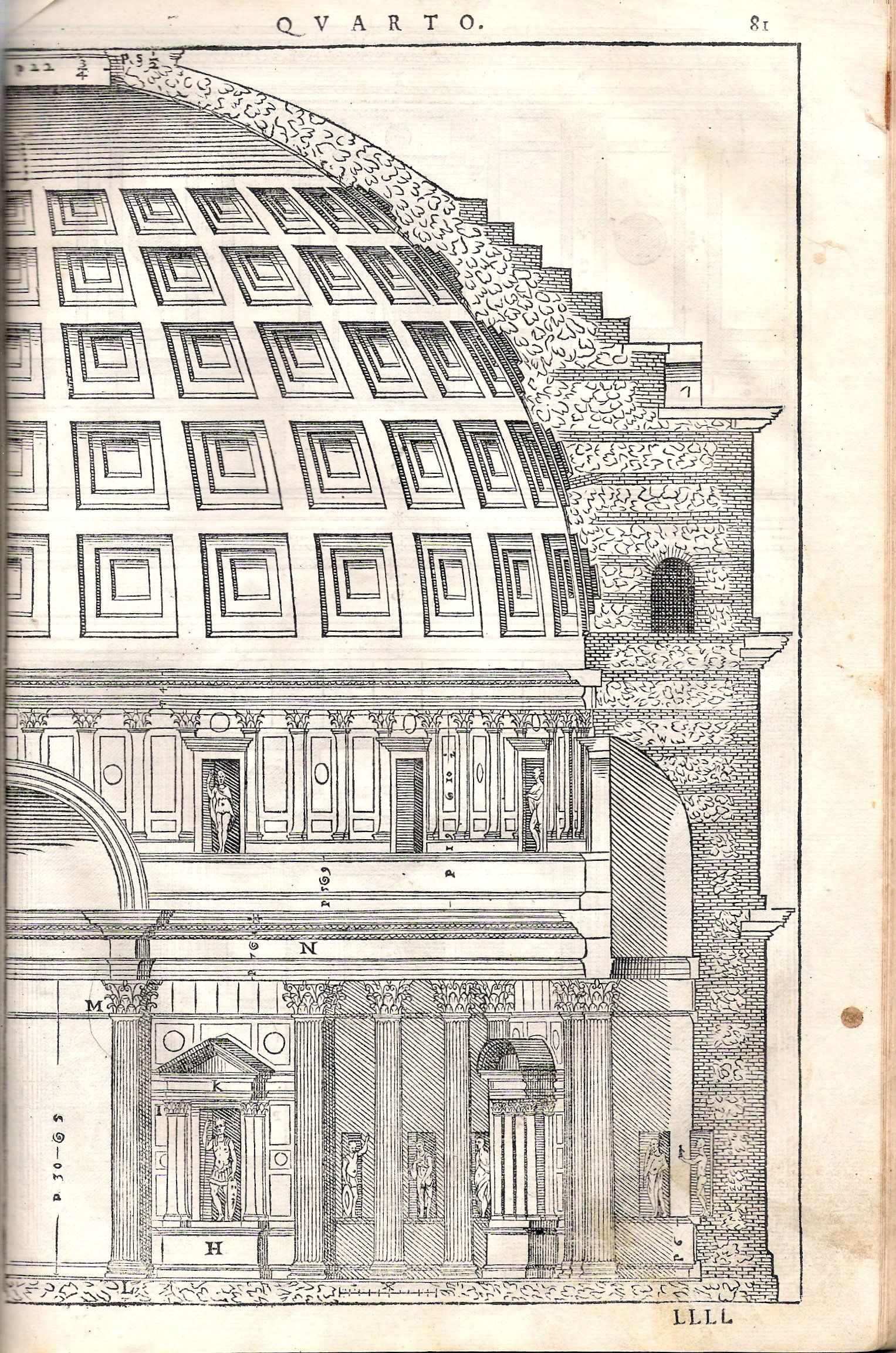 Pantheon (Rome) cross section, by Andrea Palladio, 1570 ...