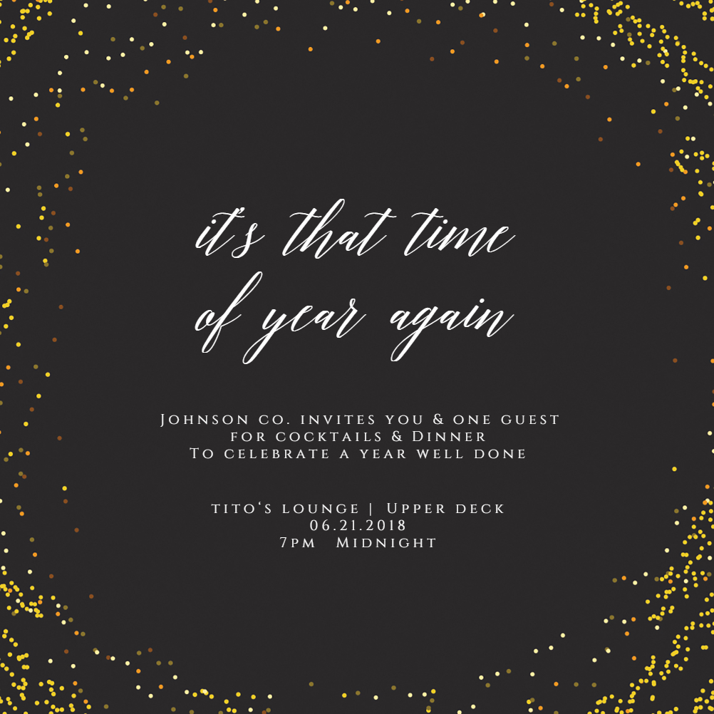 Golden Event - Cocktail Party Invitation Template (Free