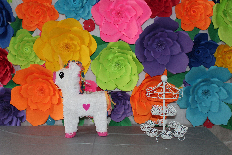 Unicorn Rainbow Giant Paper Flower Backdrop Flower Wall Party