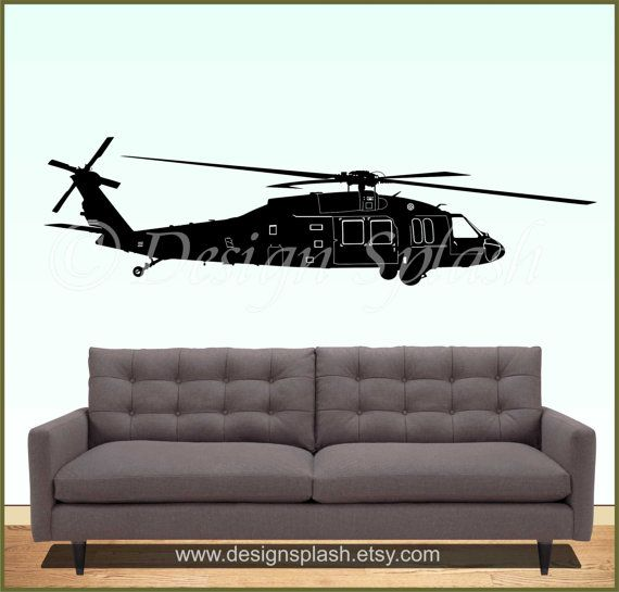 UH BLACKHAWK Helicopter Vinyl Wall Decal M Custom Vinyl - Custom vinyl wall decals for garage