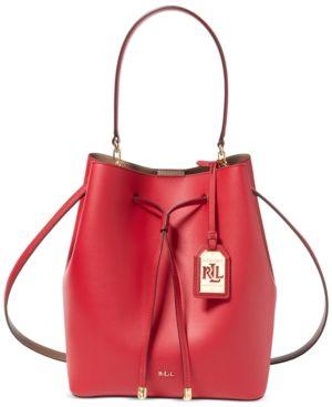 3e6d597589 Lauren Ralph Lauren Dryden Debby Drawstring Bag - Crimson/Truffle ...