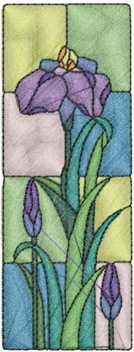 Stained Glass Iris embroidery design  annthegran.com
