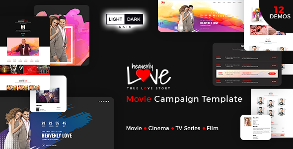 heavenly love - cinema/movie bootstrap 3 html template | fresh, Powerpoint templates