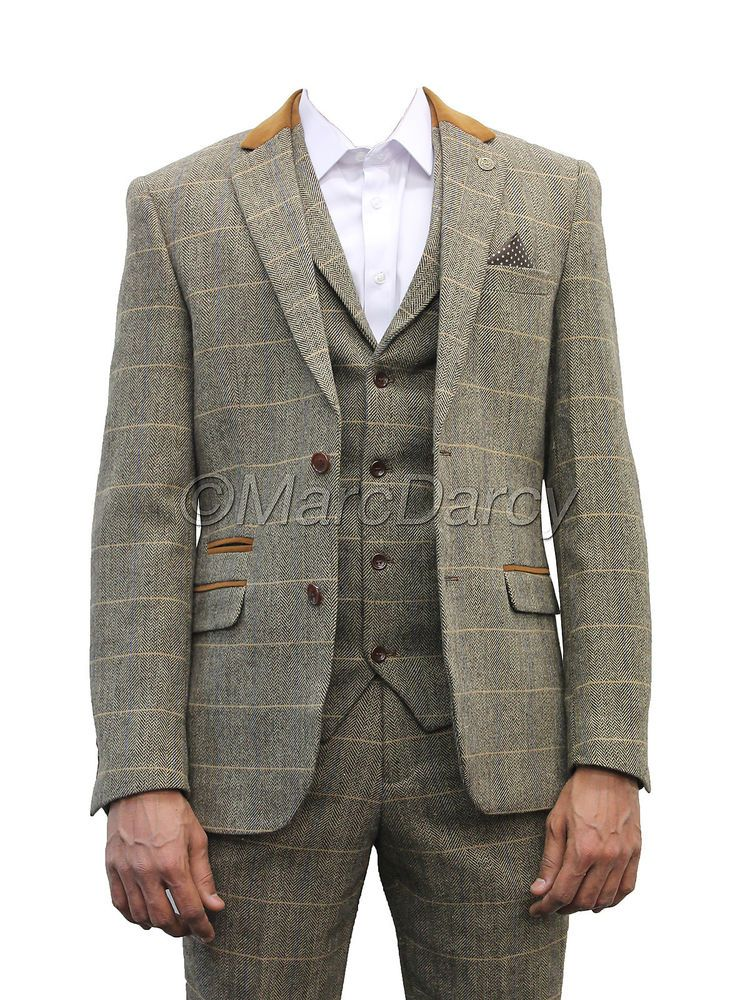 Mens Marc Darcy Designer Brown Tweed Herringbone Checkered Vintage ...