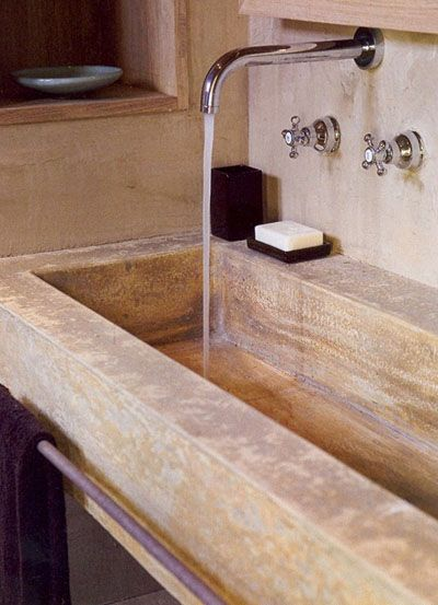 lavabo cemento | For the Home | Trough sink, Home, Bathroom