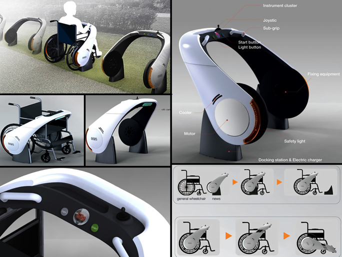 33b1452f286 Wheelchairs are expensive and power wheelchairs can cost more than some  fancy cars. The NEWS (New Electric Wheelchairs) by designer Ju Hyun Lee is  designed ...