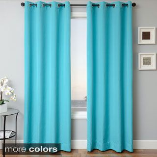 Exceptional Exclusive Fabrics Cotenza Turquoise Faux Cotton Grommeted Curtain Panel By  Exclusive Fabrics