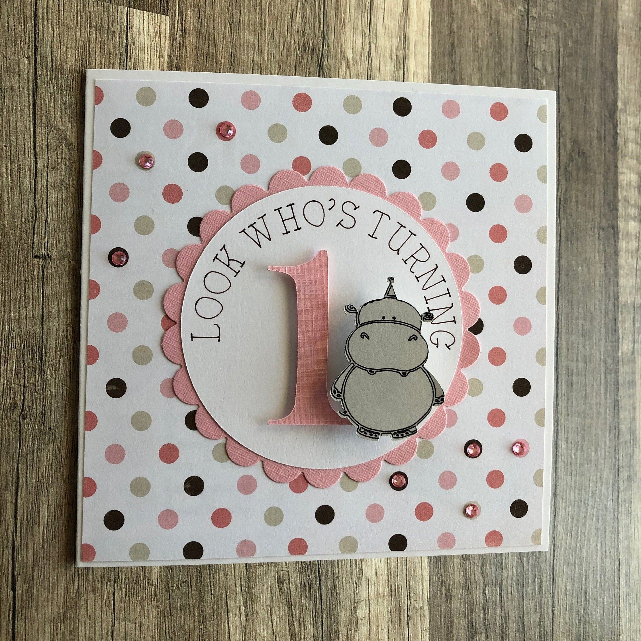 First Birthday Card, Baby's First Birthday, Baby Hippo First Birthday Card, Daughter's First Birthday, Granddaughter's First Birthday