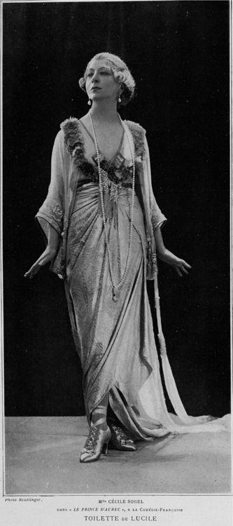 France. Stage actress Cecile Sorel in Lucile. Le prince d'Aurec. Lady Duff Gordon, Lucile Ltd., 1910s //  Photo by Reutlinger