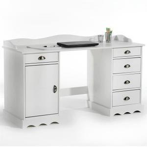 Bureau  Bureau en pin SANDRINE, avec corniche, blanc